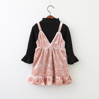 Wholesale Kids Blouses New Style - Everweekend Kids Baby Girls Autumn Flare Sleeves Black Color Top Shirt Blouse and Suspender Ruffles Dress Outfits Sets New Sets