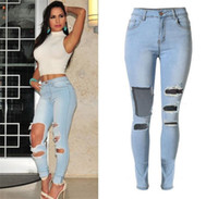 Hochwertige Mode Damen Jeans Hosen Stretch Ripped Skinny Jeans Womens Bleach Denim Jeans Femme Low Taille Bleistift Hosen
