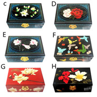 Wholesale Chinese Wooden Box Antique - Lacquer Embroidery Jewelry Storage Box Chinese Wedding Gifts Bride Room Decoration Handmade Wooden Double Layer Made In ChengDu