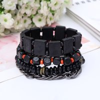 Wholesale Toggle Clasps Wholesale Singapore - 4pcs as one set black square ,abacus and cube wooder beads charm bracelet and silver metal chain bracelet and elastic beads bangle