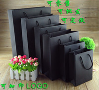 Wholesale Wholesale Plain Black Paper Bags - Wholesale- 2016 wholesale 500pcs lot 250g recyclable black gift paper bags grocery shopping bags customized printing company logo for ads