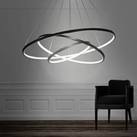 Wholesale Crystal Pendant Light Steel - lxledlight Pendant Light Modern Design LED Three Rings Chandeliers Black Color, Light Source=Warm White, Voltage=110-120V