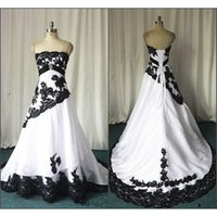 vestido de casamento branco design real venda por atacado-Real Photo White and Black Wedding Dresses Vintage Design Strapless Apliques De Renda Tafetá Uma Linha Nupcial Vestidos Tamanho Personalizado