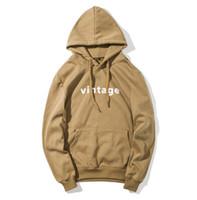 Wholesale vintage hooded sweatshirts - Vintage Letters Men Hoodies Simple Hooded Slim Casual Sweatshirts Long Sleeved Autumn Clothing