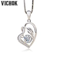 Wholesale Platinum Heart Shaped Necklace - 925 Sterling Silver Pendant&Necklace Heart Shape Pendant Necklace For Women Lover Fine Jewelry Platinum Color Wholesale Free Shipping VICHOK