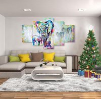 Wholesale Oil Paintings African Elephants - 5 Pieces Canvas Painting African Modern Art Elephants Living Room Wall Decor Pictures Handmade Landscape Oil Painting Unframed