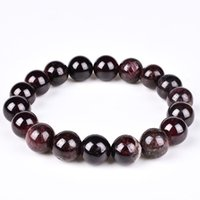 Wholesale Wholesale Gemstone Bracelets - Handmade AAAAA Grade Natural Wine Red Garnet Beads Stretch Bracelet 6 8 10 12mm Gemstone Energy Stone Healing Power Bracelets