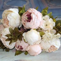 Atacado-Artificial flores flor de seda Europeu Queda Vivid Peony Fake Folha Casamento Home Party Decoration