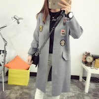 Wholesale Cardigan Sweaters Large Women - Fashion-Nice New Winter Labeling Knit Cardigan Long Section Of Large Size Women Sweater Coat Open Stitch Outside The Ride Poncho