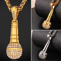 Wholesale Microphone Necklace Jewelry - U7 New KTV Wireless Microphone Rhinestone Pendant Necklace Stainless Steel Gold Plated Rope Chain Collier Fashion Women Men Jewelry GP2439