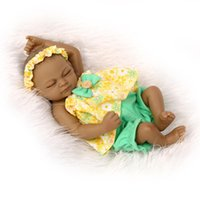 """Wholesale Toy Baby Doll Lifelike - 11""""Black African American Reborn Baby Dolls Silicone Lifelike Newborn Handmade Doll lifelike baby dolls for children doll baby toy"""