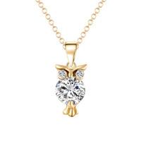 Wholesale Dropship Pendants - Wholesale-Gold Color Silver Color Owl Necklaces & Pendants Crystal collares kolye bijoux Necklaces For Women collares collane Dropship