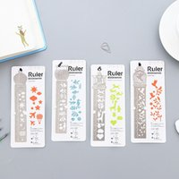 Wholesale Classical Multi Function Various Flower Graffiti Templates Stainless Steel Drawing Ruler Promotion Gift Stationery