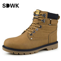 Wholesale Outdoor Boots Men Autumn Casual Working Boots Fashion Male Ankle Boots Solid High Top Platform Shoes Man Black Brown B150