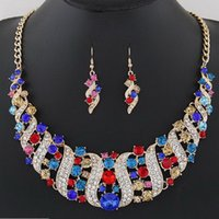 Hot Selling Smart Necklace Drop Earrings Set Mulheres casamento Bridal Jóias Rhinestone Crystal Jewelry Set Atacado