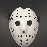 Weiße Gruselige Masken Kaufen -2017 Halloween Weiße Poröse Männer Maske Jason Voorhees Freddy Horror Film Hockey Scary Masken Für Party Frauen Maskerade Kostüme