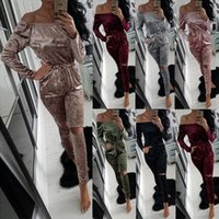 Wholesale Ladies Lounge Sets - Lady Crushed Velvet Romper Women One Piece Suit Strapless Lounge Suit Sweatshirt Pant Women Sport Tracksuit Set Velour Jumpsuits F167
