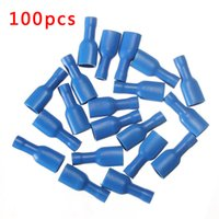 Wholesale Female Spade Terminal Insulated - 100pcs FDFD1.25-110 Blue Fully Insulated Female Spade Wire Crimp Terminals Connectors 14-16AWG