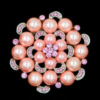 Wholesale Bridal Wedding Diamante - Hot Selling Pink Pearl Flower Wedding Bridal Bouquet Brooch Exquisite Pink Diamante Lady Hijab Wear Pins
