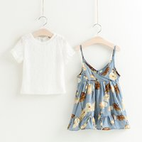 Wholesale Holiday Girls Outfits - Everweekend 2017 Girls Ruffles Floral Print Halter Dress with Lace Tees 2pcs Sets Cute Baby Summer Outfits Princess Holiday Clothing