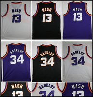 Wholesale Sun Logos - High quality Men's sun Throwback Jersey #13 Steve Nash #34 Charles Barkley Basketball jerseys White Purple Black New Rev 30 Stitched Logos