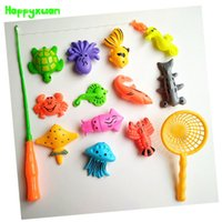 Wholesale Outdoor Rod Set - 14pcs Set Magnetic Fishing Toy Game Kids 1 Rod 1 net 12 3D Fish Baby Bath Toys Outdoor Fun