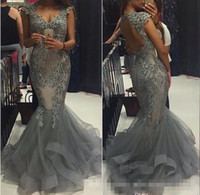 Wholesale Grey Organza Mermaid Dress - Elegant Grey Organza Mermaid Prom Dresses Scoop Capped Sleeves Backless Formal Evening Gowns 2017 Vestidos Beaded Appliques Party Gowns