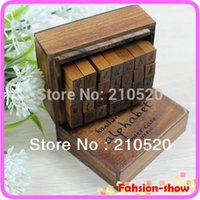 Wholesale Rubber Stamps Sets For Kids - Wholesale- New Alphabet Handwriting Lower Case + Wooden Box Symbols Rubber Stamp Gift For Kids 28pcs set Drop Shipping