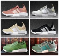 Wholesale NMD Runner R1 Mesh Salmon Talc Cream Olive Triple Black Men Women Running Shoes Sneakers Originals Fashion NMDs Runner Primeknit Shoes