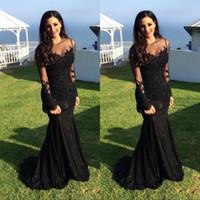 ingrosso sera nera abaya-Abiti da sera 2019 Sexy Abaya Jewel Neck Illusion Appliques in pizzo di cristallo in rilievo nero sirena maniche lunghe abito formale abiti da ballo BA3566