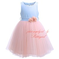 Wholesale Dresses Prom Boutique - Pettigirl 2017New Girl Pink Prom Dress Sleeveless With Sash Sexy Halter Dimensional Flower Beaded Kids Boutique Clothing Wear G-DMGD908-1057