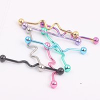 Acero 14G ZigZag Curve Industrial Barbells Long Earring Piercing Bar Andamio Cartilago Hélice Cuerpo Jewery