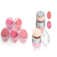 Wholesale Pure Powders - Wholesale-Women Girls 3D Pure Mineral Face Cheek Blush Blusher Powder Cosmetic With Sponge Portable 2 in 1 Makeup