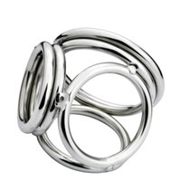 Wholesale Ejaculating Cock - New Male Delay Toys Steel Chastity Cock Rings NEW STYLE 4 Holes Two Size Can Chose Metal FETISH Delayed Ejaculating Ring