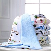 Wholesale Baby Thick Blankets - Wholesale- 1 PC Baby Toys 2017 Autumn Winter Thick Soft Warm Cotton Cashmere Baby Blanket Bedding Wrap Play Mats Baby Toys 76*102cm