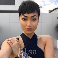 Short Hairstyle Perruque de cheveux humains Straight Short Pixie Cut Wigs For Black Women Pleine machine faite Lace Front Bob Hair Perruques sans perruque en dentelle