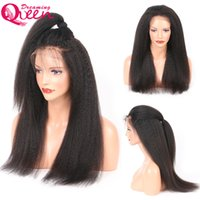 Kinky Straight Glueless Lace Frontal Virgin Hair Wigs Pre Plucked 130% Densidade 8-24 Inch Brazilian Wig Bleached Knot