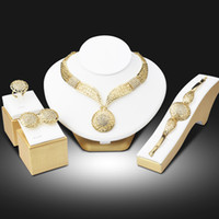 Wholesale African Costume Jewelry Sets - IST308 Wedding African Jewelry Sets Fashion Dubai Gold Color Jewelry Set Wholesale Costume Design