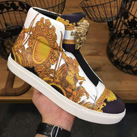 Wholesale european buckle boots - 2018 new high-top shoes male printed leather hardware buckle European station trendy young casual short boots