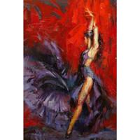 ingrosso pitture a olio di qualità donne-Bellissimi dipinti ad olio donna ballerina di flamenco olio rosso e viola su tela dipinto a mano di alta qualità