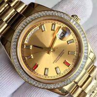 Wholesale Ruby Gold Diamond - Luxury Brand Men's Watch Week Calendar Series 118348 Ruby Diamond Watch 18K Gold Stainless Steel Strap