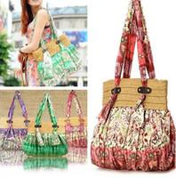 Wholesale Bohemian Purses - bohemian straw shoulder bag women purse handbags beach bag
