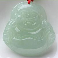 buddha statues china Canada - China traditional Natural Myanmar Jadeite pendant jade Buddha statue Ice Maitreya Light Green Jewelry for women
