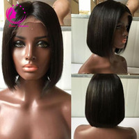 Wholesale transparent lace top - Top Quality Short Bob Straight Human Hair Wigs Bob Full Lace Wig or Lace Frontal Wig Brazilian Virgin Hair Wig For Black Women