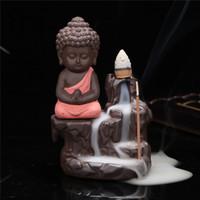 ingrosso commercio all'ingrosso di ceramica di buddha-Commercio all'ingrosso-vendita calda buddha a buon mercato incenso bruciatore di ceramica incensiere set con bastoncini joss decorazione della casa soggiorno camera da letto ufficio arredamento