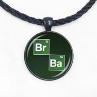 Wholesale ba jewelry - Wholesale Glass Dome Pendant New Popular Vintage Breaking Bad Necklace Chemical Symbol Br Ba Pendant handamde jewelry