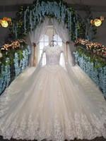 Wholesale Sexy Hochzeitskleid - Luxurious Style Lace up Princess Wedding Gowns Long Cape Rhinestones Luxury Wedding Dress Bride Dresses Robe De Mariage Hochzeitskleid