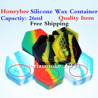 Wholesale Honey Boxes Wholesale - Quality Hot Selling honeybee hexagon Silicone Container Jars For Honey Wax Jars Dab Container 26ml Silicone Wax Box food grade jars VS 6+1