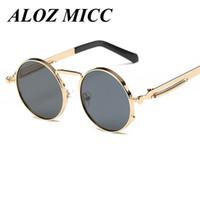 benzersiz güneş gözlüğü lensleri toptan satış-ALOZ MICC Moda Tasarımcısı Unisex Erkekler / Kadınlar Marka Buhar punk Yuvarlak Lens Güneş Gözlüğü Benzersiz Bahar bacaklar Gözlük UV400 A071