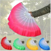 Wholesale Red Chinese Silk Fan - New Chinese silk dance fan Handmade fans Belly Dancing props 6 colors available Drop shipping Hot sale